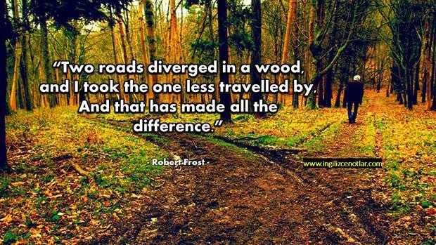 İngilizce-Robert-Frost-Ağaçlık-bir-alanda-bir-yol-ayrımı-vardı-ben-daha-az