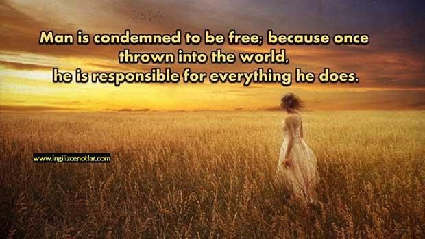 İngilizce-Jean-Paul-Sartre-İnsan-özgür-olmaya-mahkumdur-Çünkü-bir-kez-dünyaya