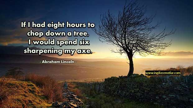 İngilizce-Abraham-Lincoln-Bir-ağacı-kesmek-için-sekiz-saatim-olsa