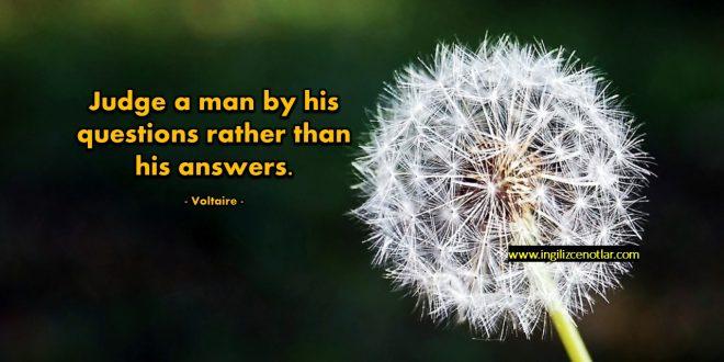 Voltaire - İnsanları verdikleri cevaplarla değil...