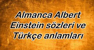 Almanca Albert Einstein sözleri ve Türkçe anlamları